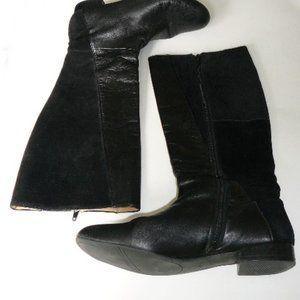 Suede/Leather Black Low Heel Knee High Zippered